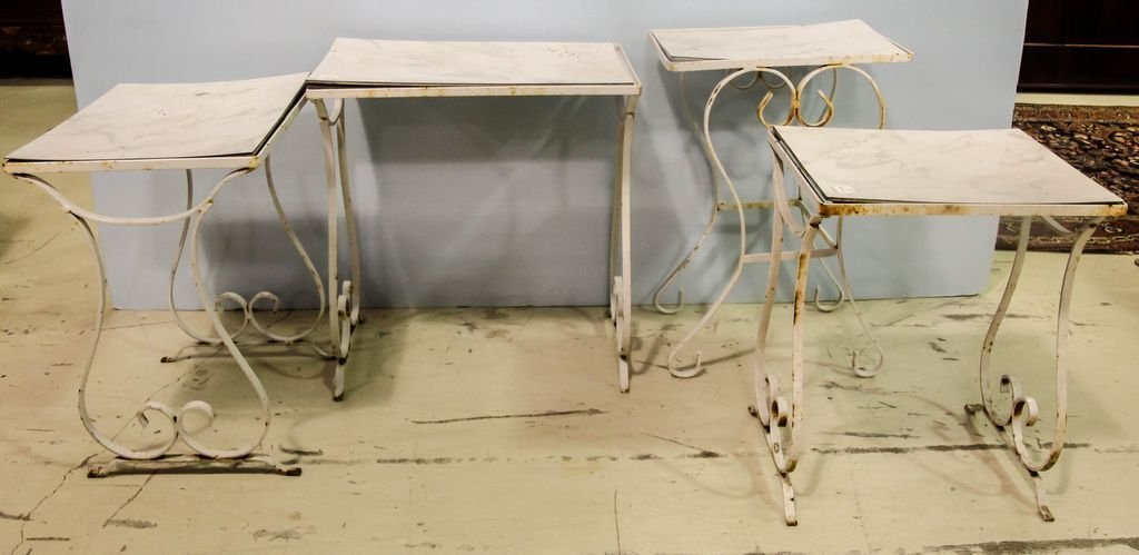 Four Wrought Iron Side Tables