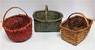 Three Antique Hickory Baskets