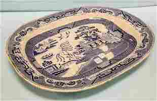 Extremely Large Blue Willow Meat Platter