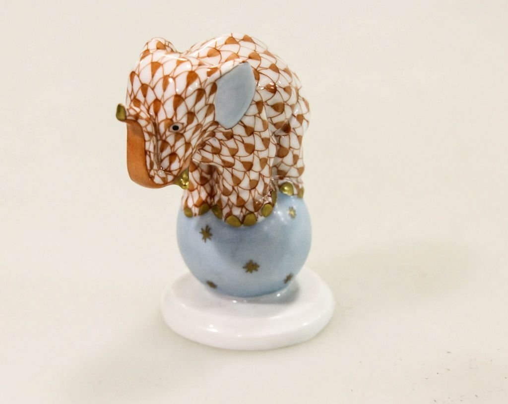 Herend Hand Painted Coral Fishnet Elephant