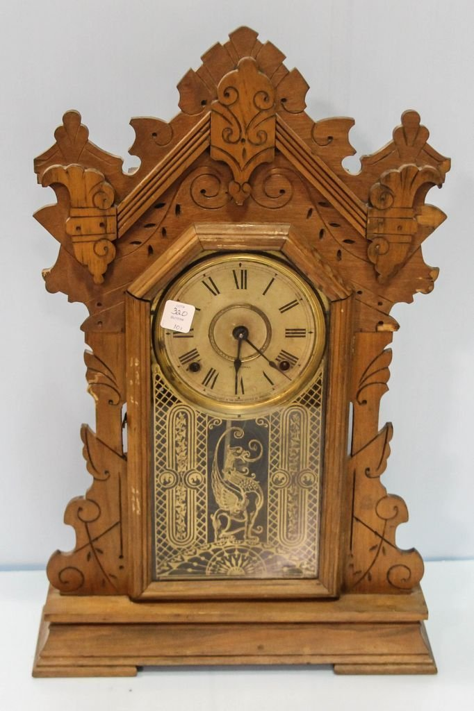 Early 20th Century Carved Oak Kitchen Clock