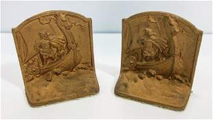 Pair of Iron Viking Designed Bookends