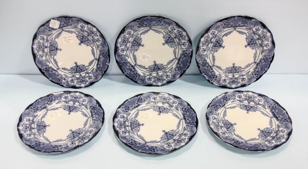 Set of Six English Flow Blue Plates
