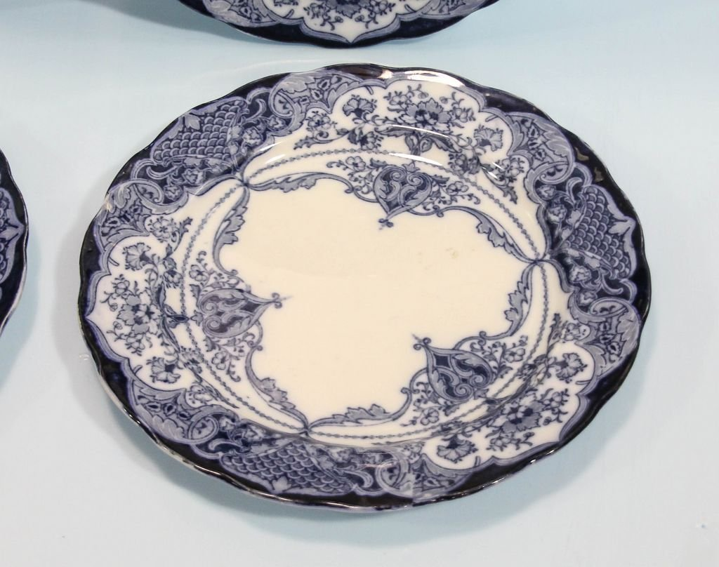 Set of Six English Flow Blue Plates - 2