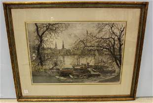 Mid Century Etching of Boats in Harbor Signed Luigi