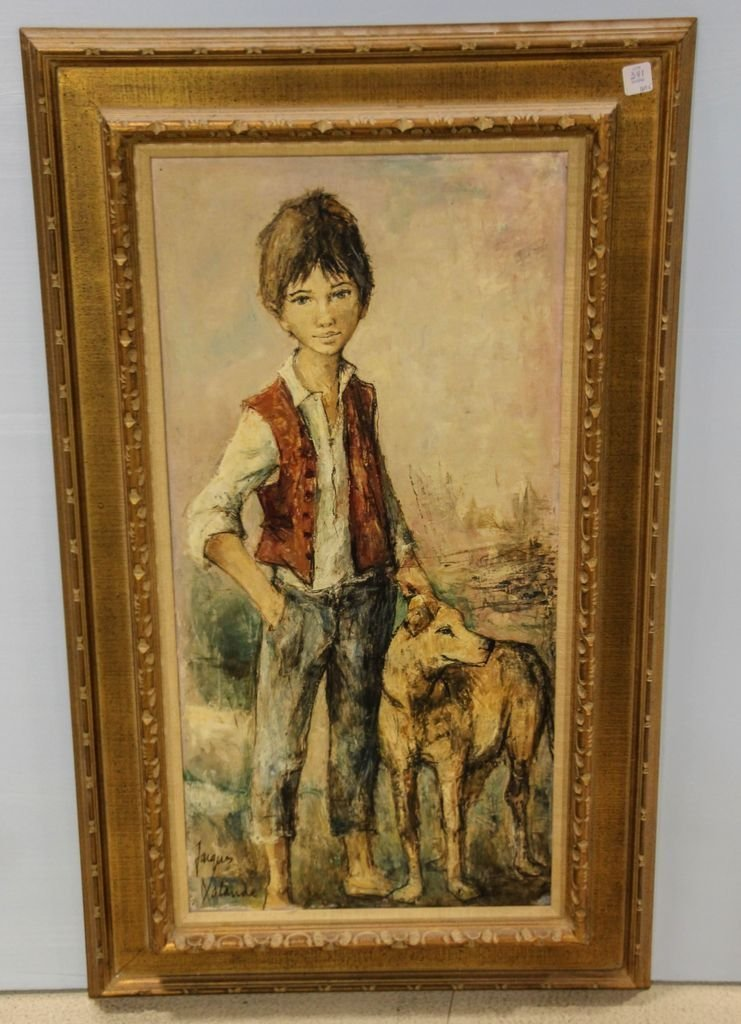 Mid Century Oil on Canvas of Boy and Dog Signed Jacque