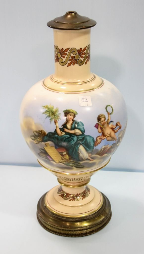 19th Century Hand Painted Vase Mounted as a Lamp