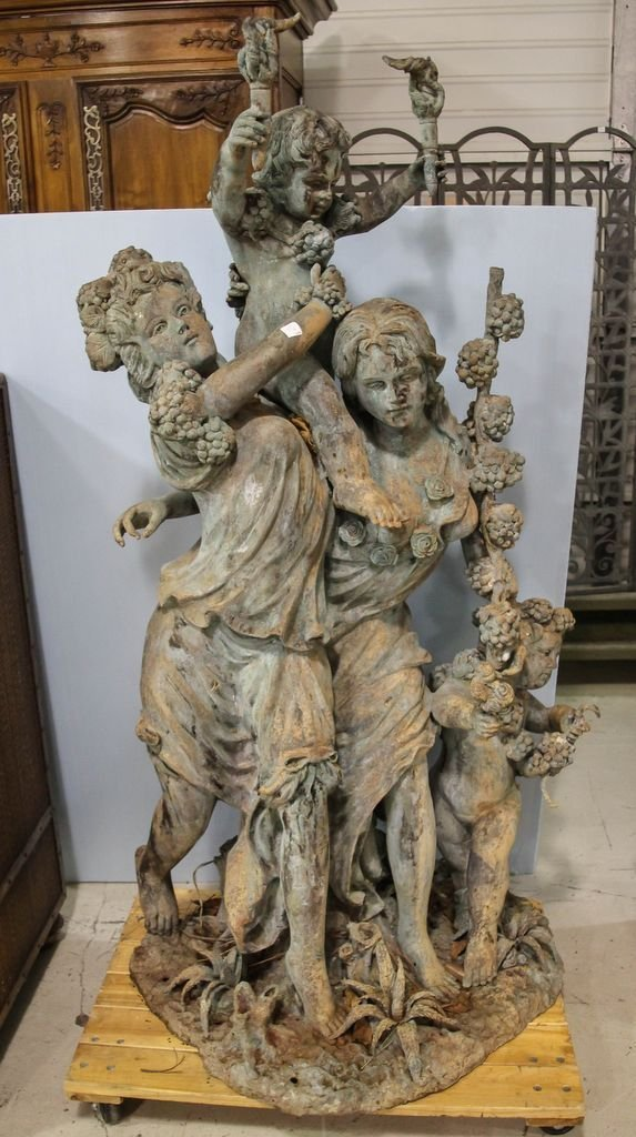 Large Bronze of Two Woman and Children