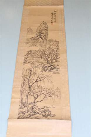 Chinese Ink on Paper Mounted as Scroll