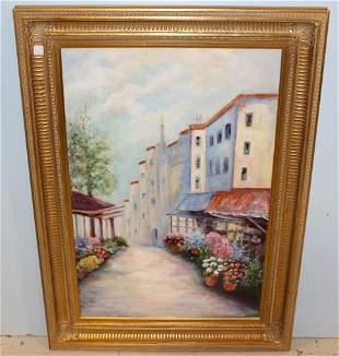 P. Bracken Oil Painting of Flower Stalls Along Street