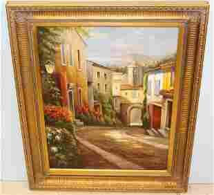 Fetasax Oil Painting of Cobblestone Street Scene