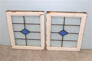 Pair of Blue Diamond Stained Glass Windows
