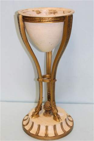 Metal Torchiere Vase with Brass Hoofed Stand