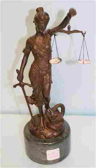 Bronze Sculpture of Blind Justice