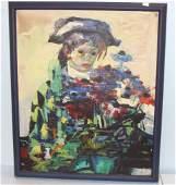 Luigi Corbellini Oil on Canvase Harlequin Child with