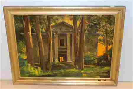 "Marshall Bouldin Oil on Canvas of ""Rowan Oak"""