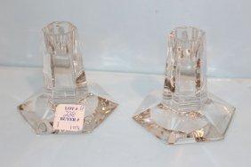 Tiffany & Co. Frank Lloyd Wright Crystal Candlesticks