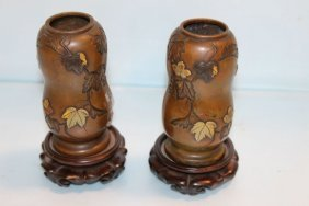 Mixed Metal Japanese Vases On Stands