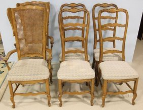 Set Of Six French Ladder And Cane Back Dinning Chairs