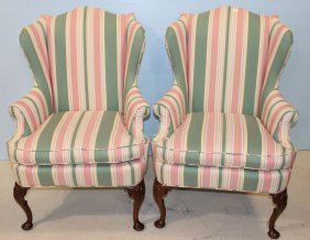 Pair Of Queen Anne Pink And Green Wingback Chairs
