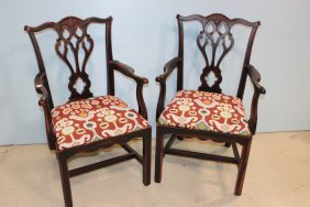 Pair Of Chinese Chippendale Chairs With Contemporary