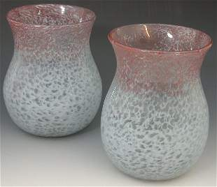 A pair of Vasart baluster glass vases, each with pal
