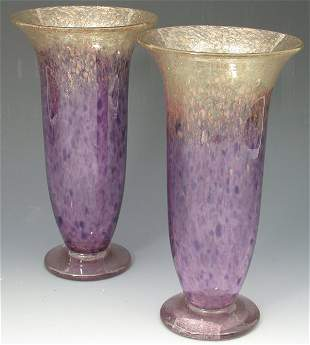 A pair of Monart glass vases, each of slender cylind