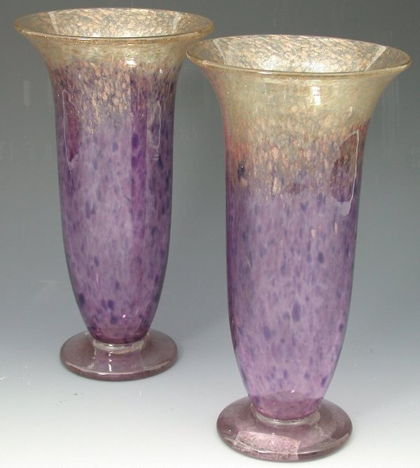 3: A pair of Monart glass vases, each of slender cylind