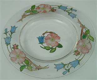 A Helen Walton circular glass dish, painted in colou
