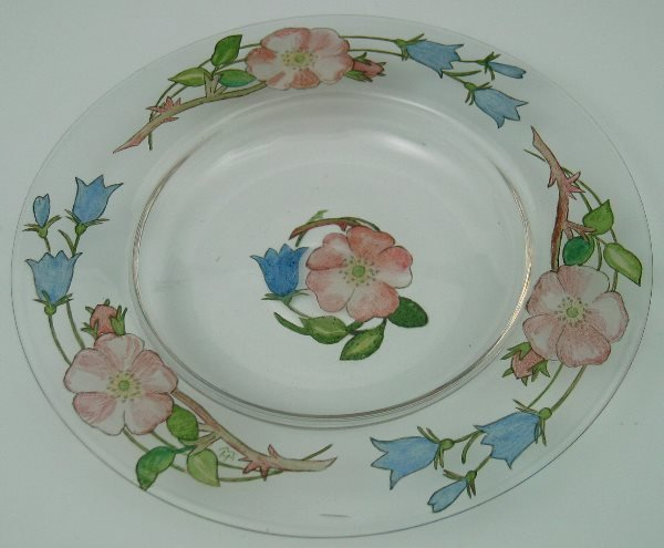4: A Helen Walton circular glass dish, painted in colou