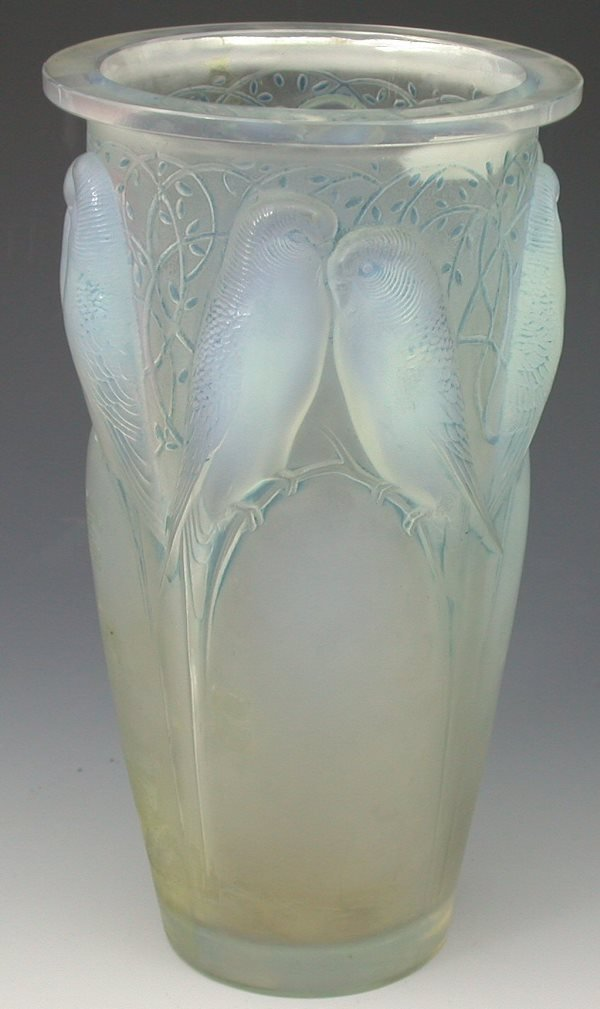 6: 'Ceylan', a Lalique frosted and opalescent glass vas