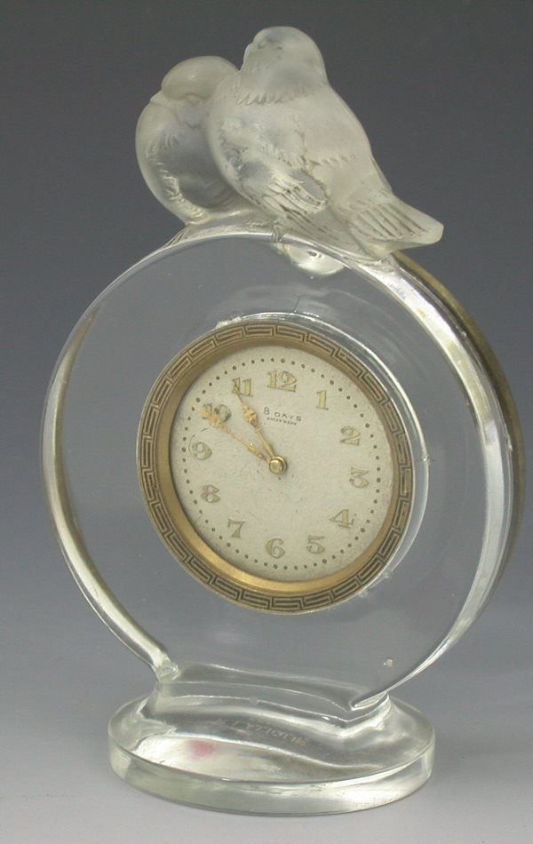 10: 'Pierrots', a Lalique clear and frosted glass clock