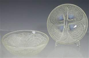 'Coquilles', a set of six Lalique clear and opalesc