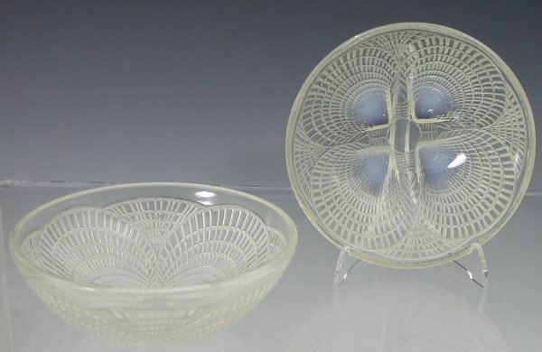 15: 'Coquilles', a set of six Lalique clear and opalesc