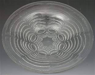 'Vagues', A Lalique clear glass bowl, moulded with