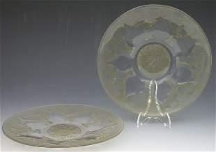 'Vases', a pair of Lalique glass plates, each mould