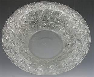 A Lalique clear and frosted glass bowl, with flarin