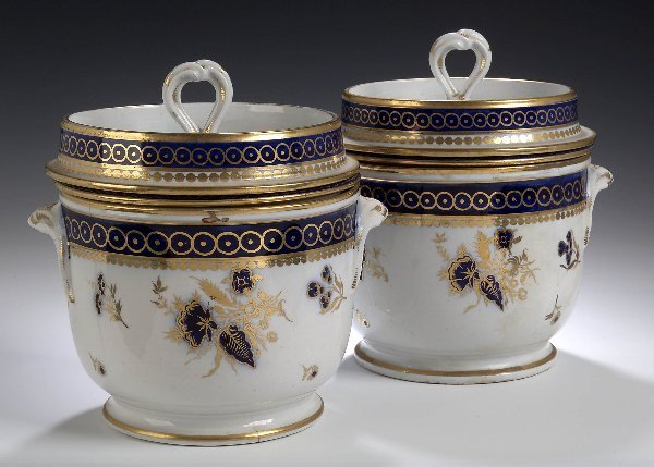 23: A pair of English porcelain twin handled