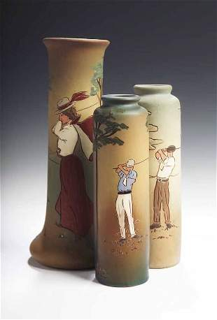 An early 20th century Weller 'Dickensware' pottery v