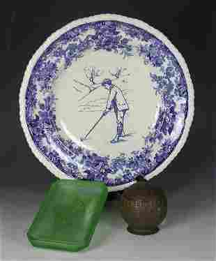 A Minton, England, pottery plate,