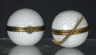 A Limoges porcelain and gilt metal mounted trinket