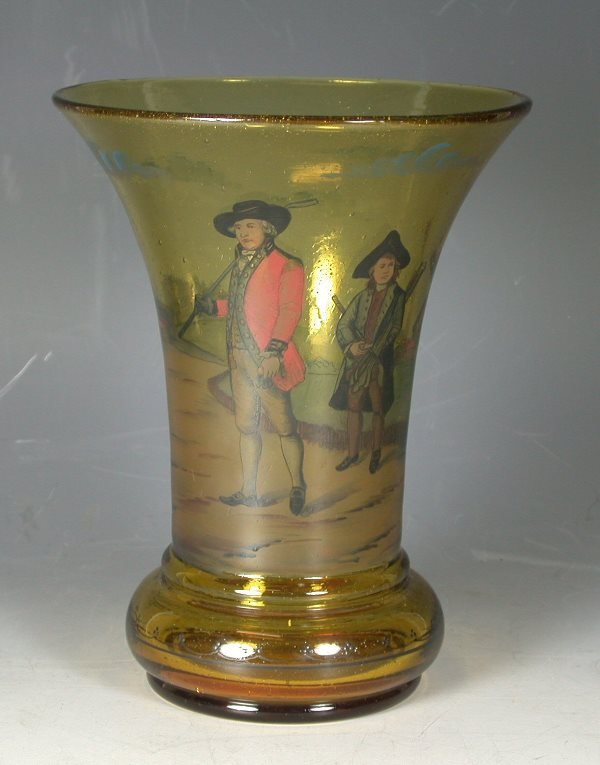 20: A Continental amber glass vase,