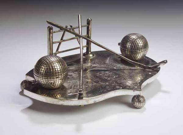 21: A Victorian plated deskstand,