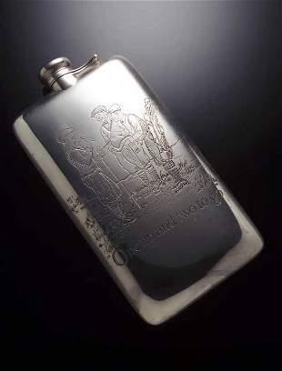 A sterling silver spirit flask,