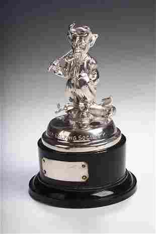 A plated golfing trophy, inscribed, 'Lucifer Golfin