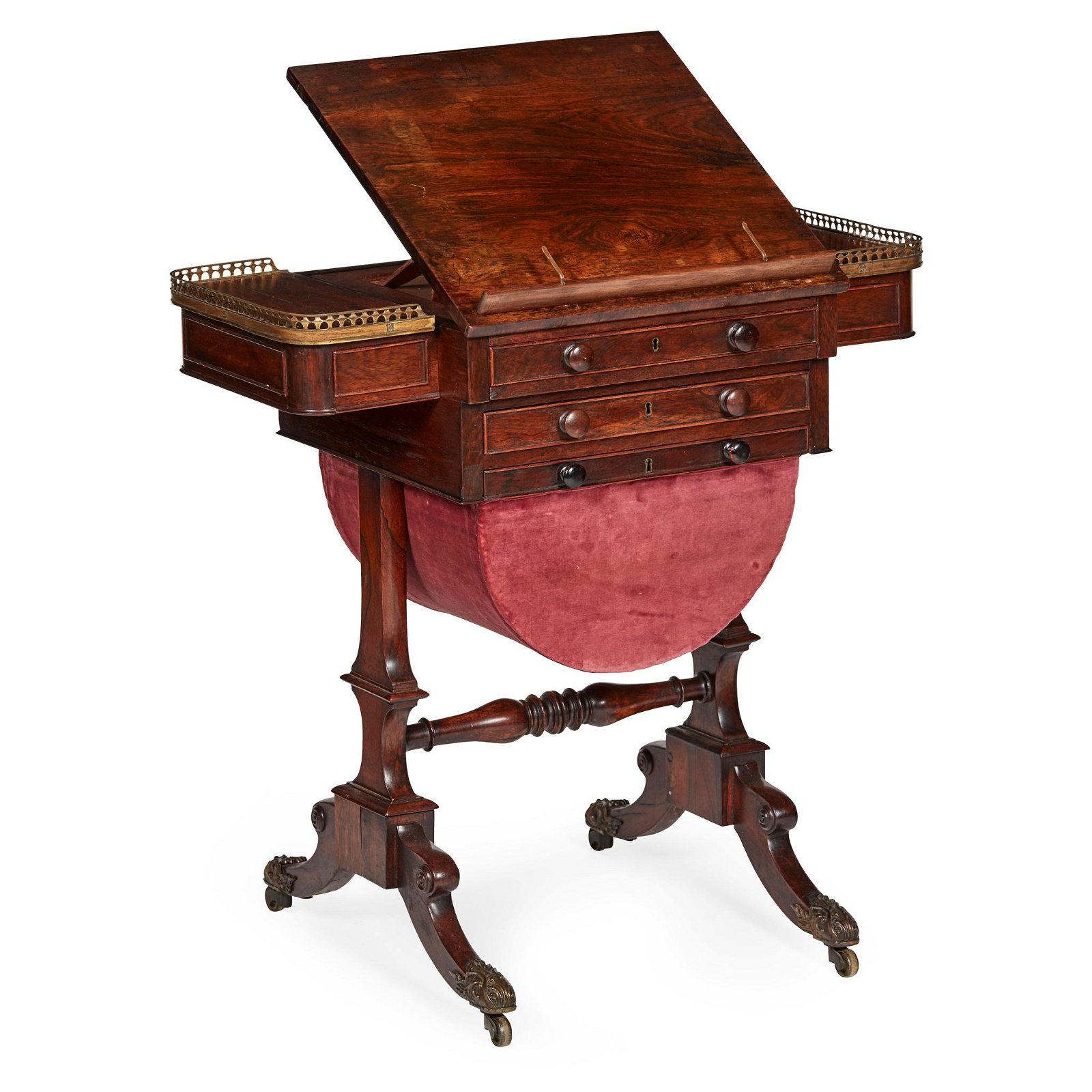 Y REGENCY ROSEWOOD WORK/GAMES TABLE EARLY 19TH CENTURY