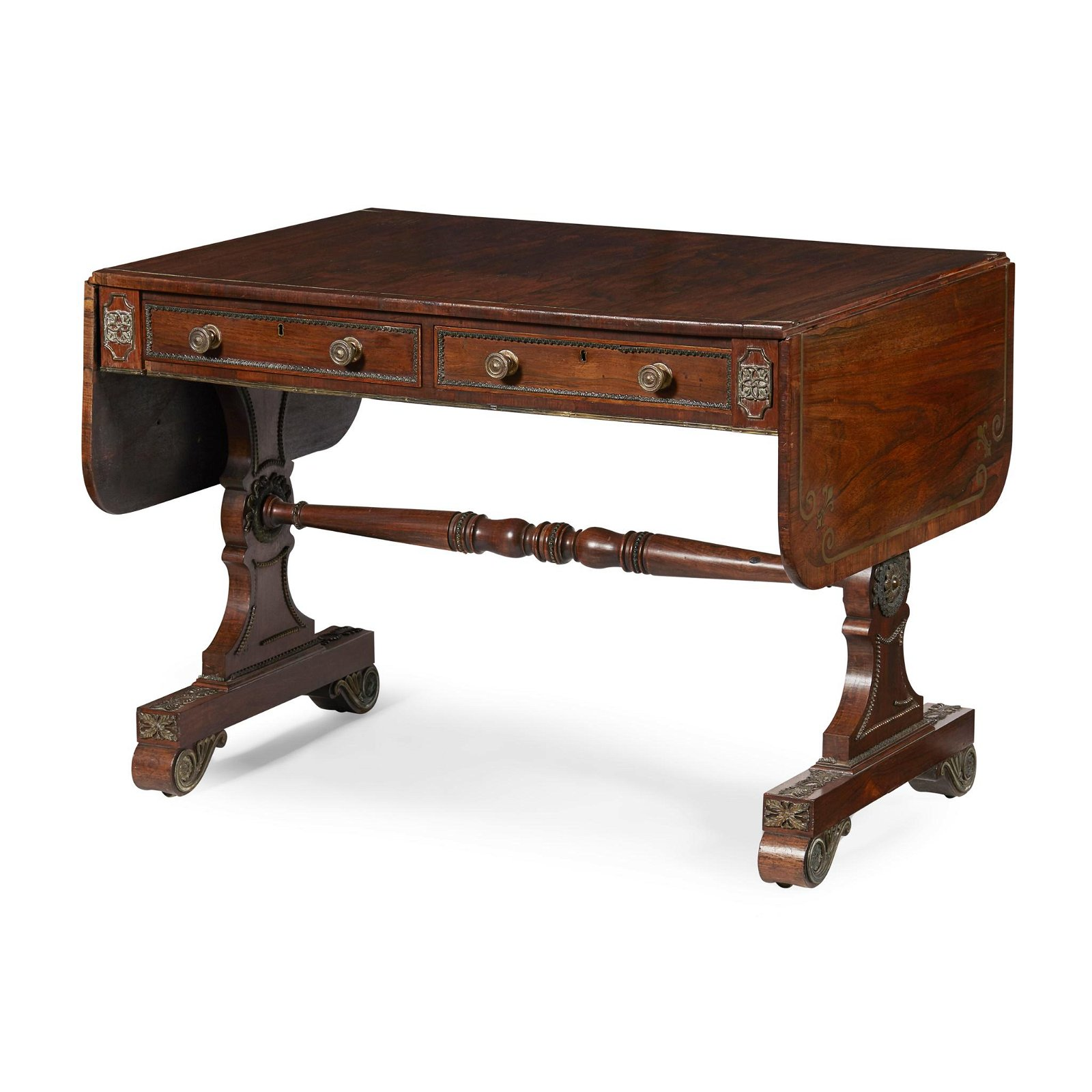 Y GEORGE IV ROSEWOOD AND BRASS INLAID SOFA TABLE EARLY