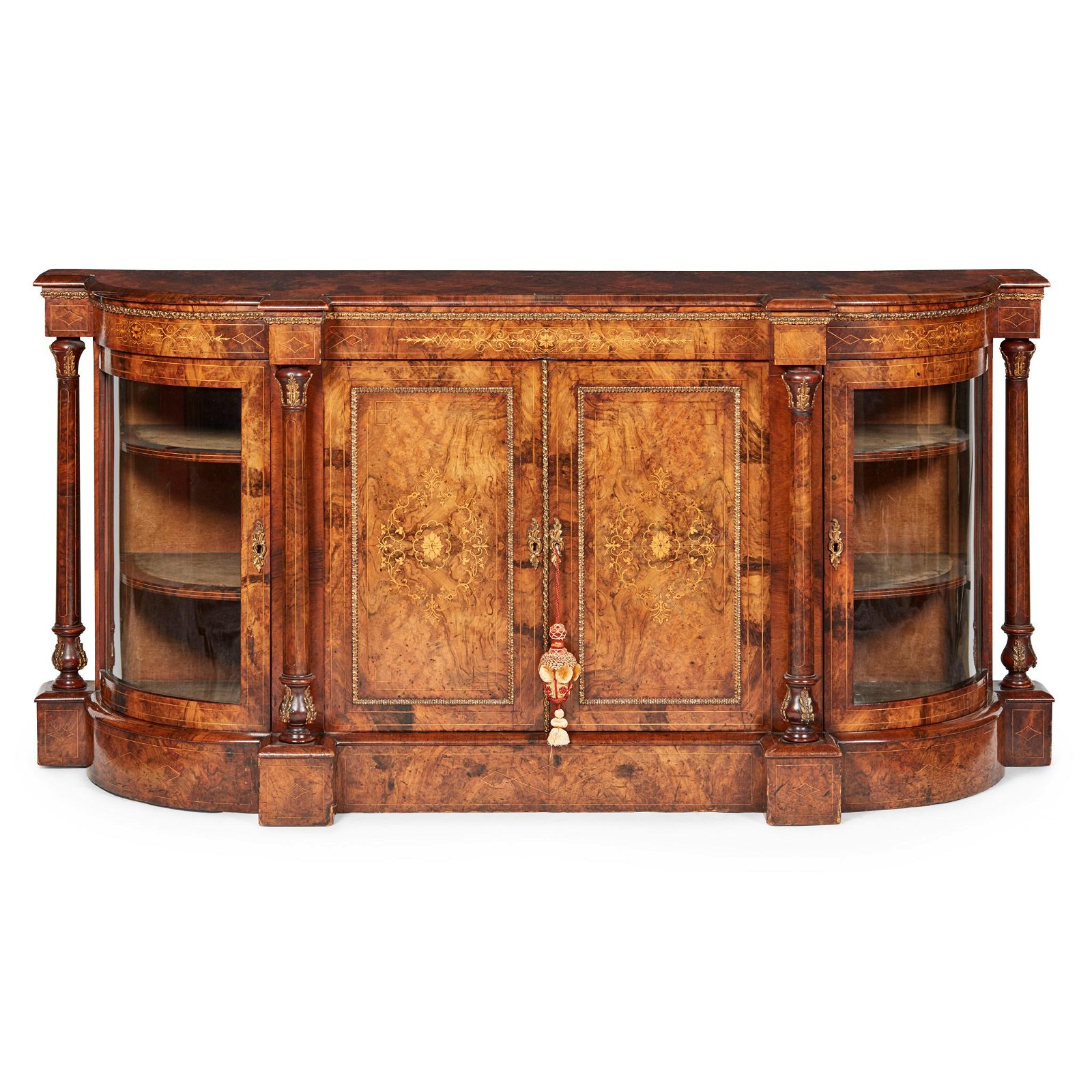 VICTORIAN WALNUT, INLAY, AND BRASS MOUNTED CREDENZA