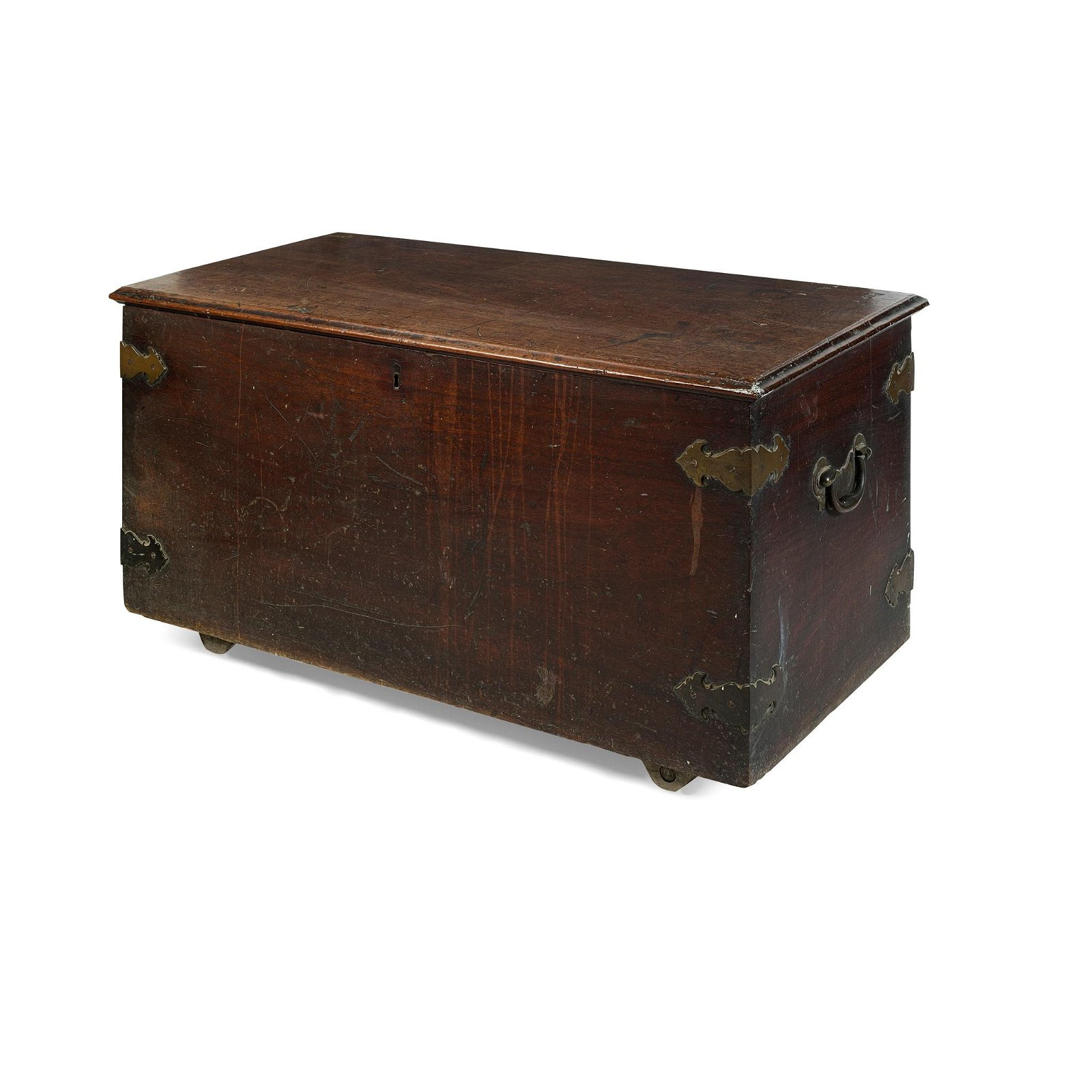 GEORGE III MAHOGANY AND BRASS BOUND CHEST 18TH CENTURY
