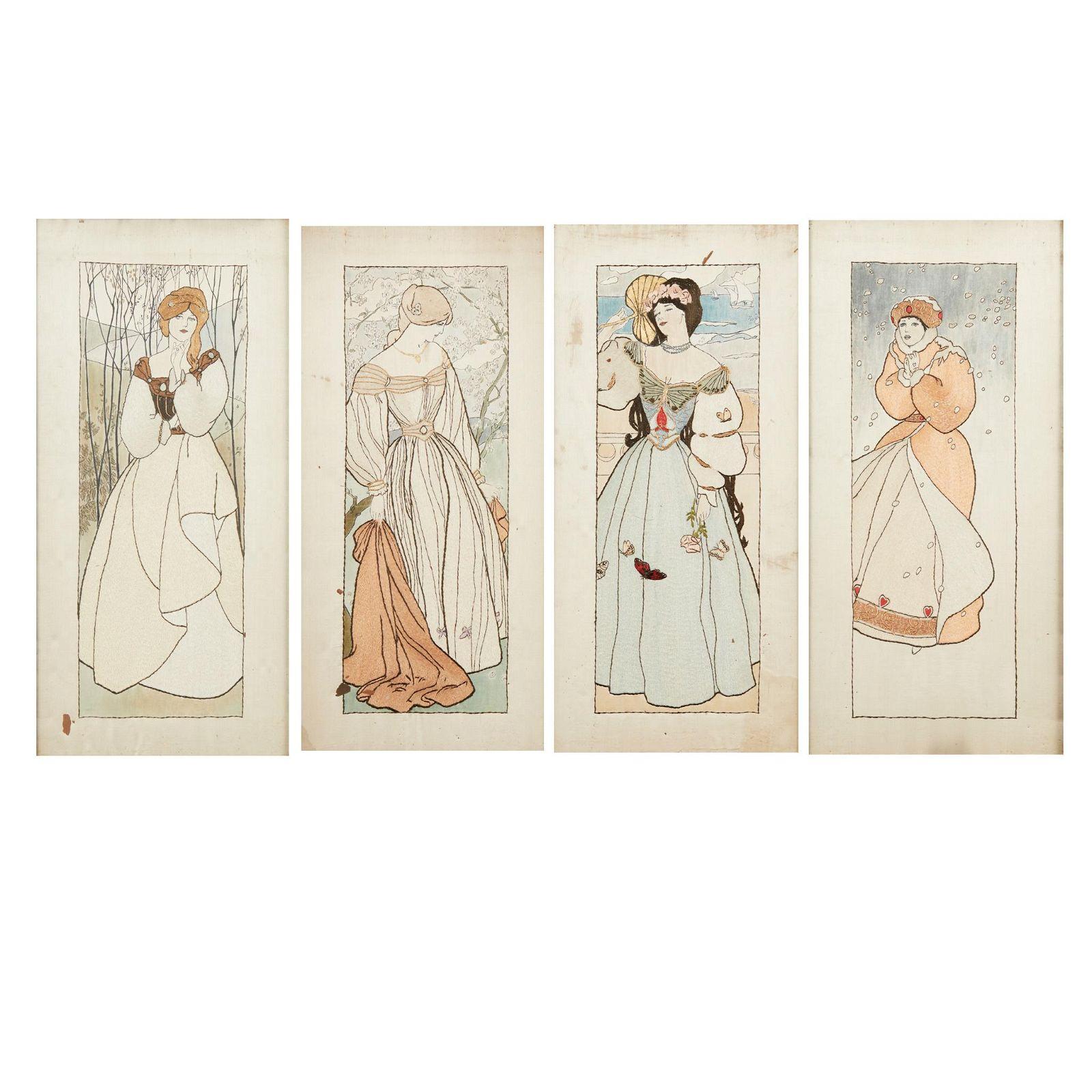 ENGLISH SCHOOL 'THE FOUR SEASONS', SET OF FOUR ARTS &